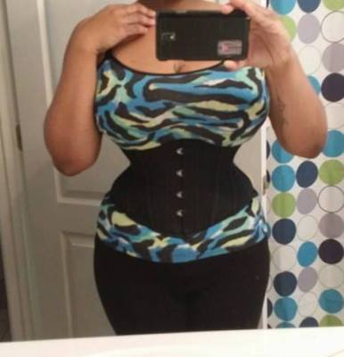 Diantha after 2 years, in a size 24 corset