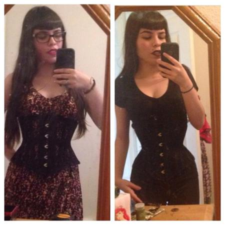 "Monique with her 20"" corset, seasoning (left) and after 4 months, closed (right)."
