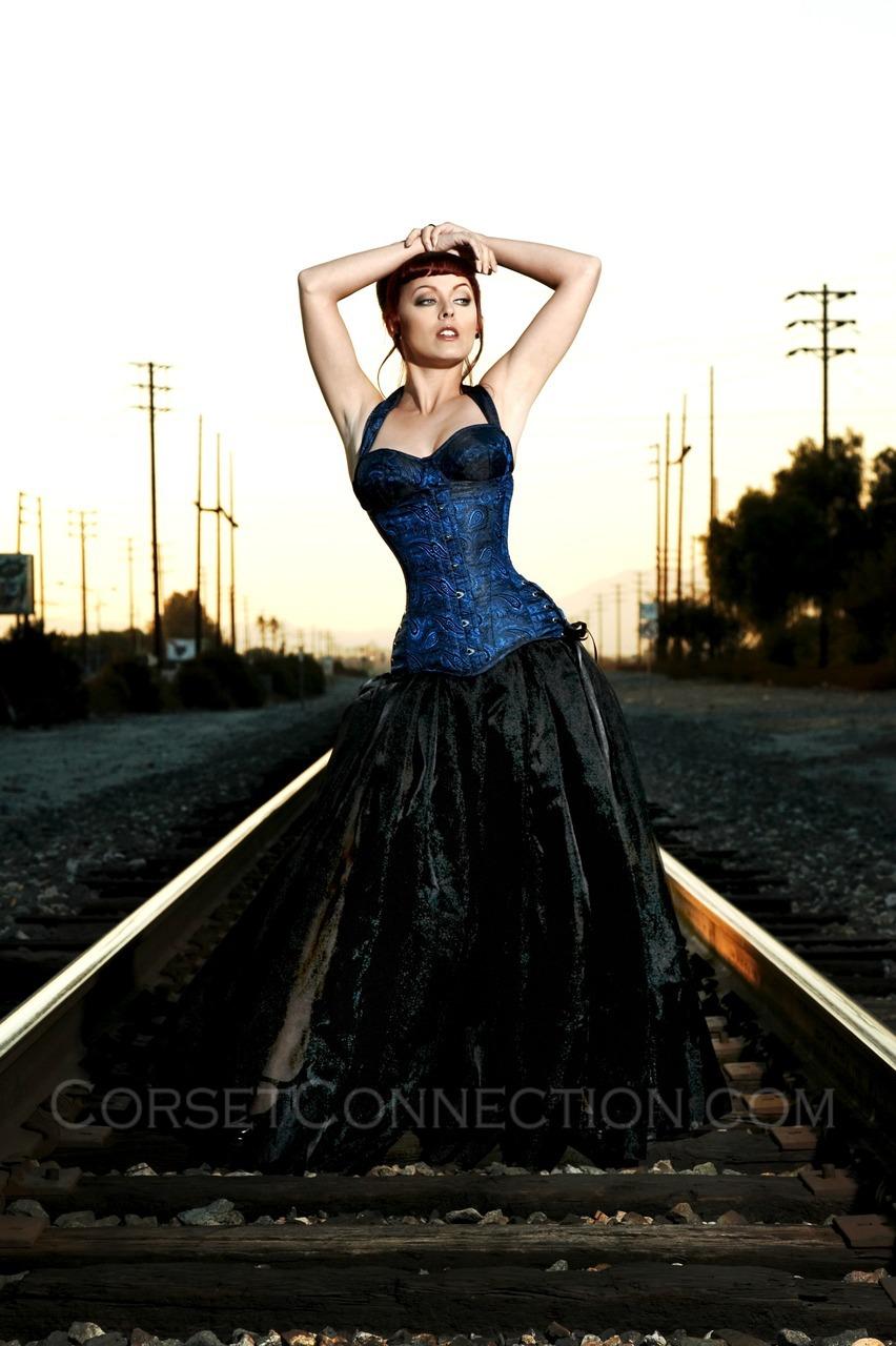 Foxglove Blue underbust corset Versatile