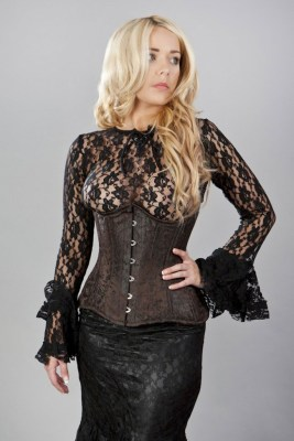 Victorian double steel boned underbust corset in brown king brocade, as it's displayed on Burleska's site. Click through for more info.