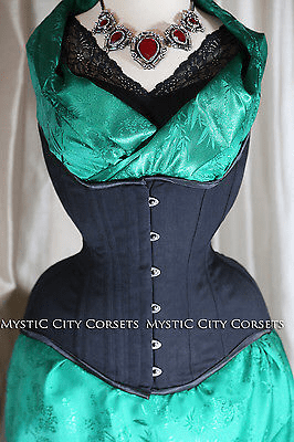 "Mystic City Corsets makes an ""Anti-Muffin"" underbust that has a high, square hip spring for avoiding pinched hips, low front to hold in a hanging tummy, and high back to prevent spillover. ($90)"