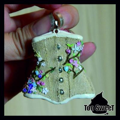 Miniature jute corset pendant made by Too Sweet