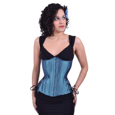 steel blue iridescent hourglass longline underbust corset