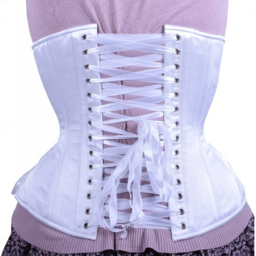 white satin hourglass longline corset back