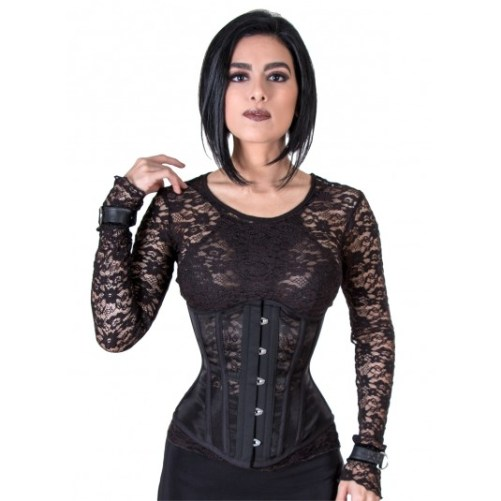 Rebel Madness black mesh waist training tight lacing corset for sale at Lucy's Corsetry $84 USD