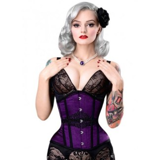 Rebel Madness violet satin waist training tight lacing corset for sale at Lucy's Corsetry $79 USD