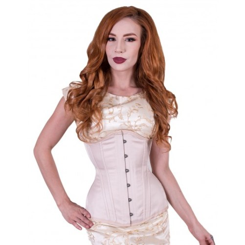 Rebel Madness beige satin waist training tight lacing corset for sale at Lucy's Corsetry $80 USD