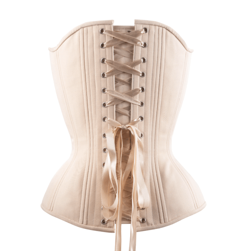 Timeless Trends hourglass silhouette creme cotton overbust corset for sale at Lucy's Corsetry, $119 USD