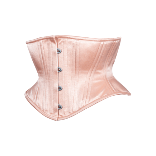 Timeless Trends peach satin hourglass cincher, available on Lucy's Corsetry, $89 USD