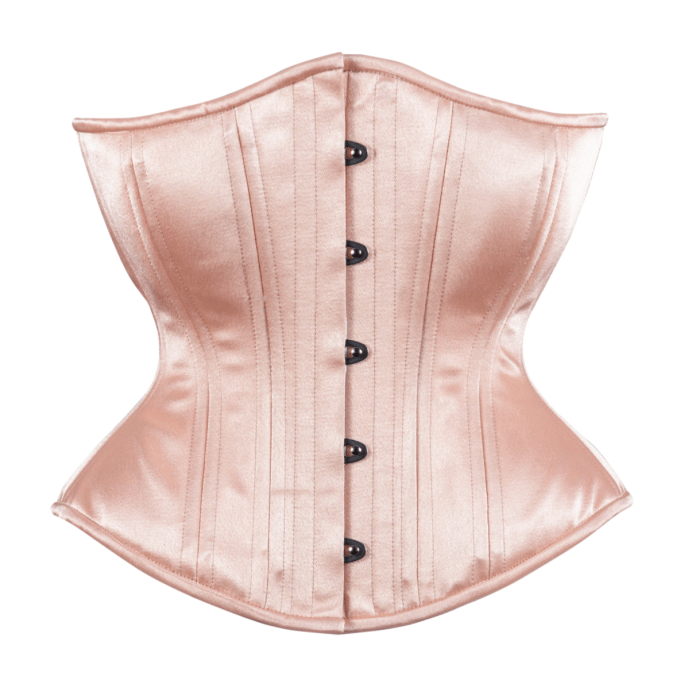 Timeless Trends peach satin hourglass corset, available on Lucy's Corsetry, $99 USD