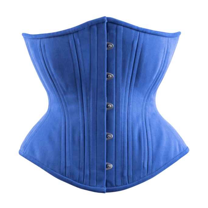 TT blue cotton hourglass corset $99 at Lucy's Corsetry