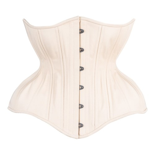 Timeless Trends creme cotton Gemini corset in the round rib silhouette, available on Lucy's Corsetry, $109 USD