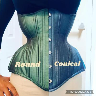 Gemini longline corset, round rib and conical rib silhouette modeled and designed by Lucy Corsetry