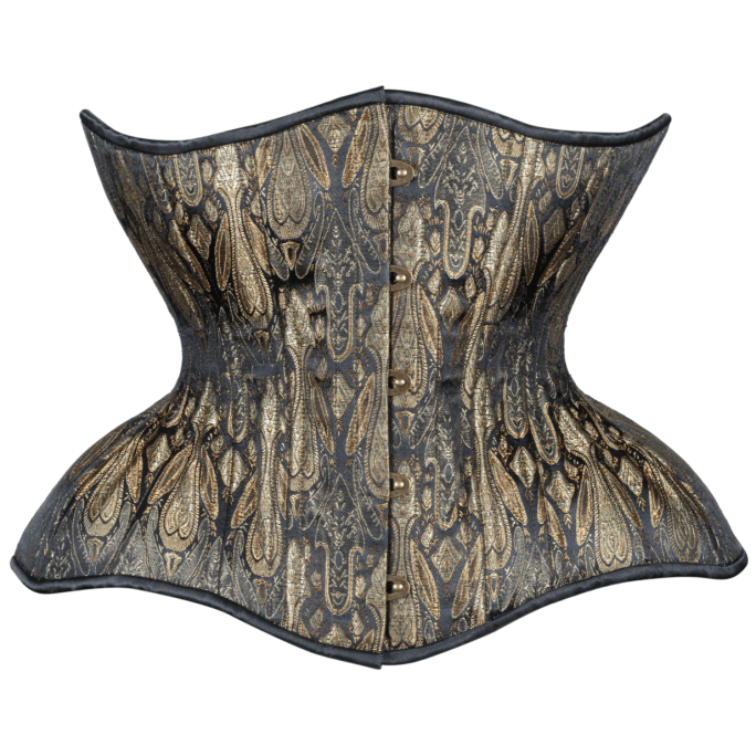 Antique Black and Aged Gold Conical Rib Gemini corset available on Lucy's Corsetry for $109 USD