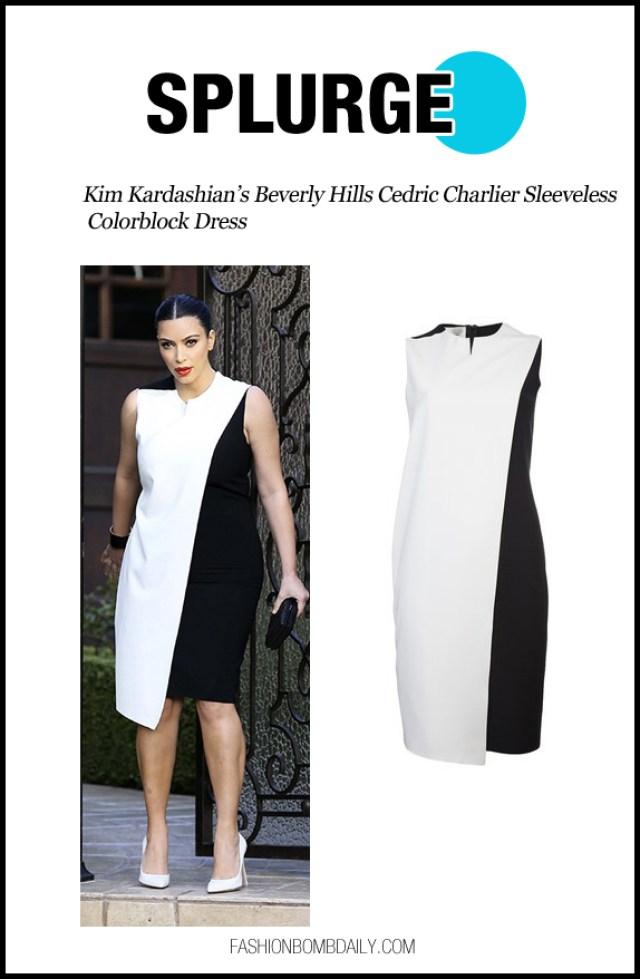 Kim Kardashian's Beverly Hills Cedric Charlier Sleeveless Colorblock Dress