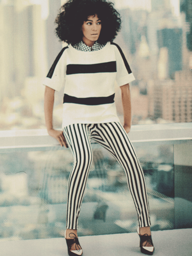 solange knowles in black and white stripes