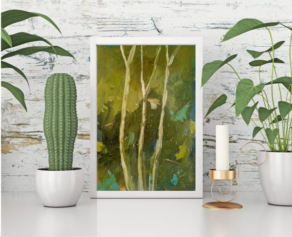 Portrait framed painting with green plants on white wooden wall background.