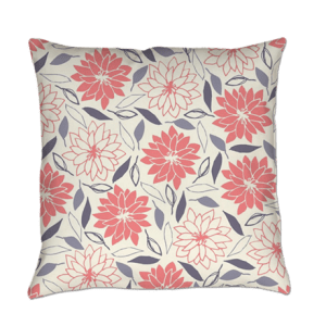 pink and blue floral throw pillow