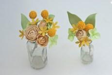 Yellow, green, & ivory sugar flowers