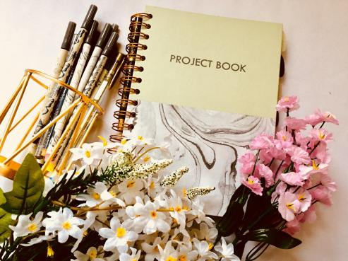 Notebook, pens, stationery