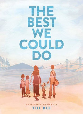 top 5 books - The Best We Could Do cover with a pastel coloured sunset with a family of five on the cover.