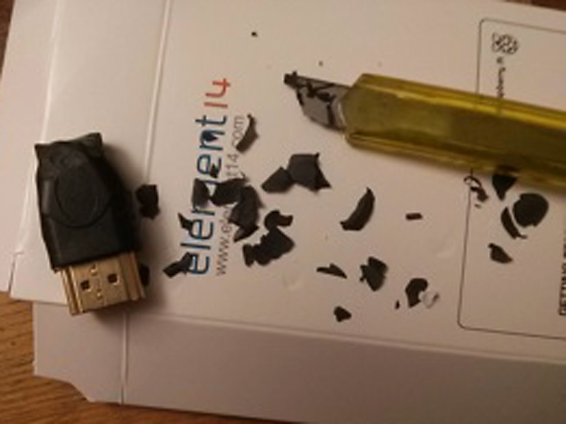 The HDMI adaptor was whittled.