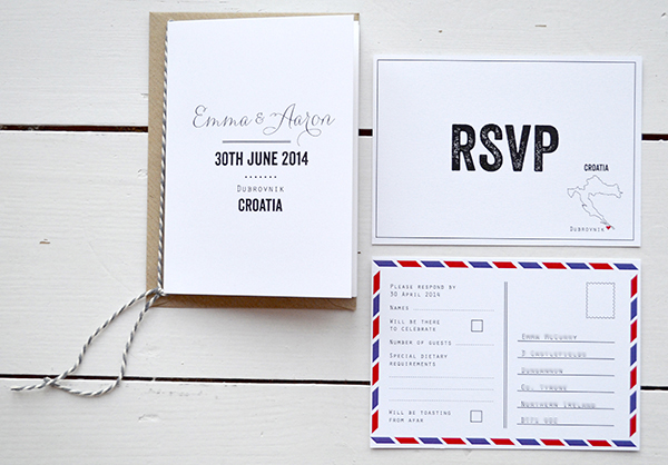 Destination Wedding Croatia Simple Typographic Stationery Design Rsvp Postcard Information Booklet With Twine S