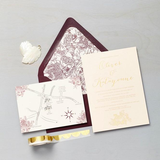 Bespoke Wedding Invitation Gold Foil