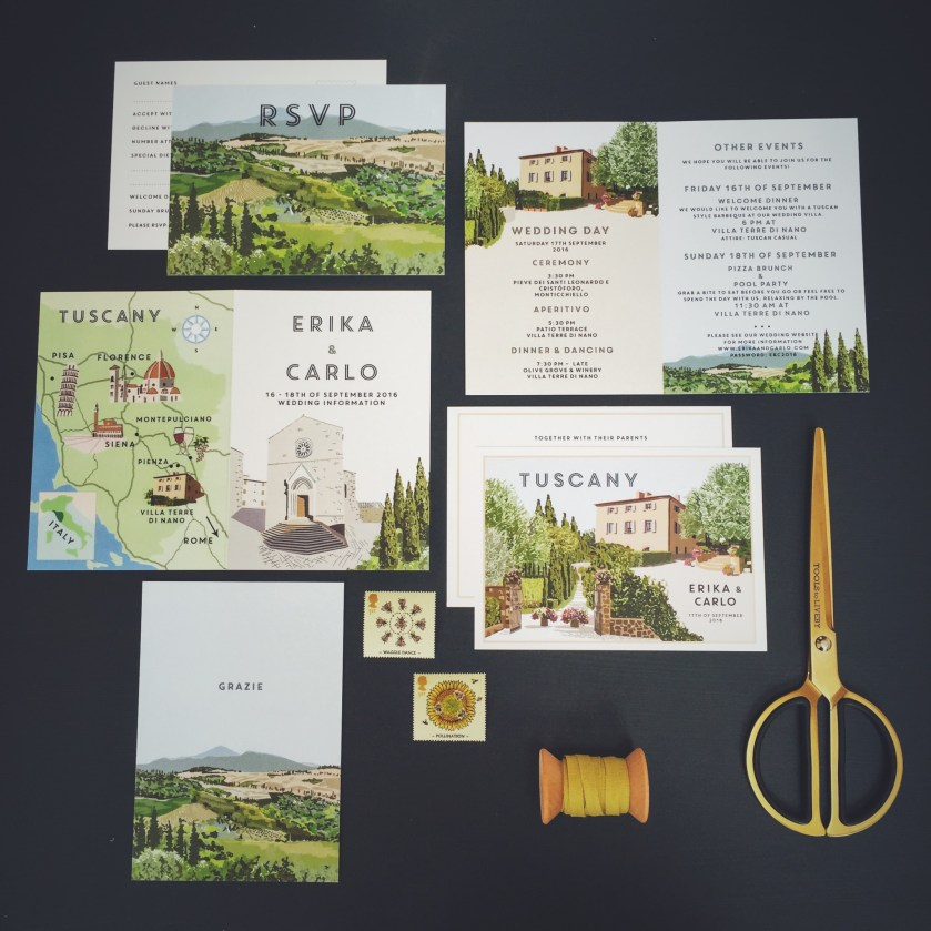 Vine Travel Postcard Style Invitation Tuscany Wedding Italy