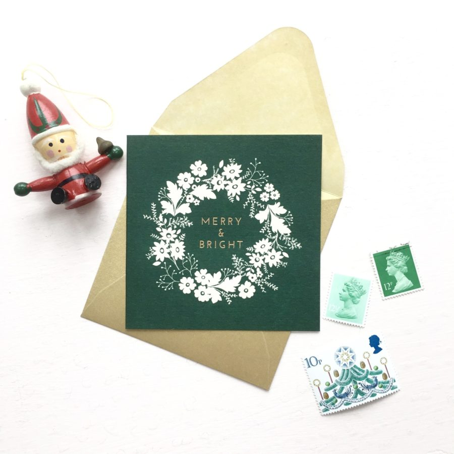 Pack Of 6 Charity Christmas Cards Pink And Forest Green