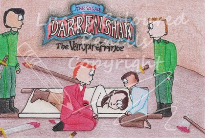 During the battle with the Vampaneze in Vampire Mountain, Arra Sails is mortally wounded. Here she is making her ex-mate, Larten Crepsley, vow to not let them kill Darren Shan, as she said Darren was a true Vampire. Shortly after this, Arra dies.