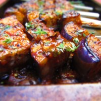 Jamaican spiced jerk Aubergine Skewers