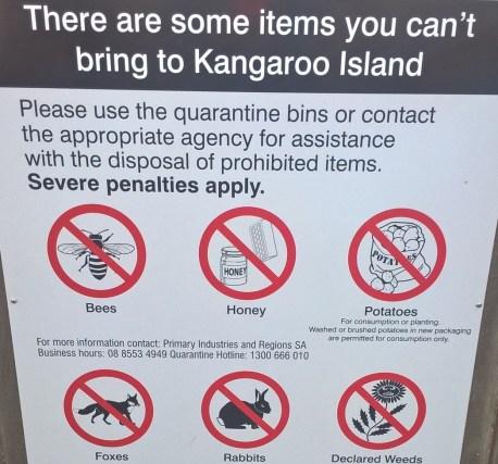 Kangaroo Island condizioni di ingresso sull'isola: divieto di api, miele, patate, volpi, conigli, erbe