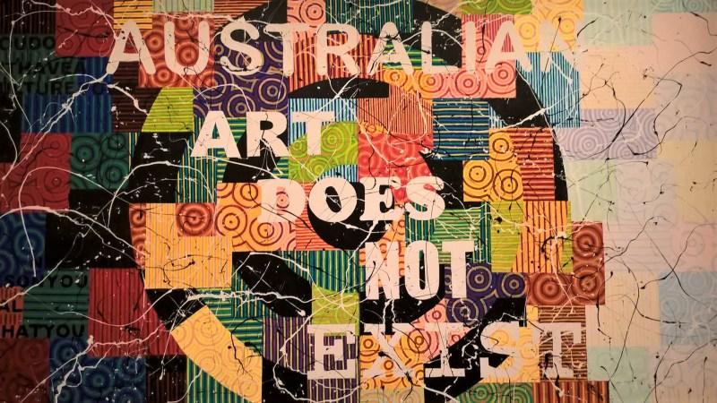 """Quadro aborigeno """"Australian Art Does Not Exist"""""""