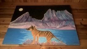 tilacino dipinto su un quadro