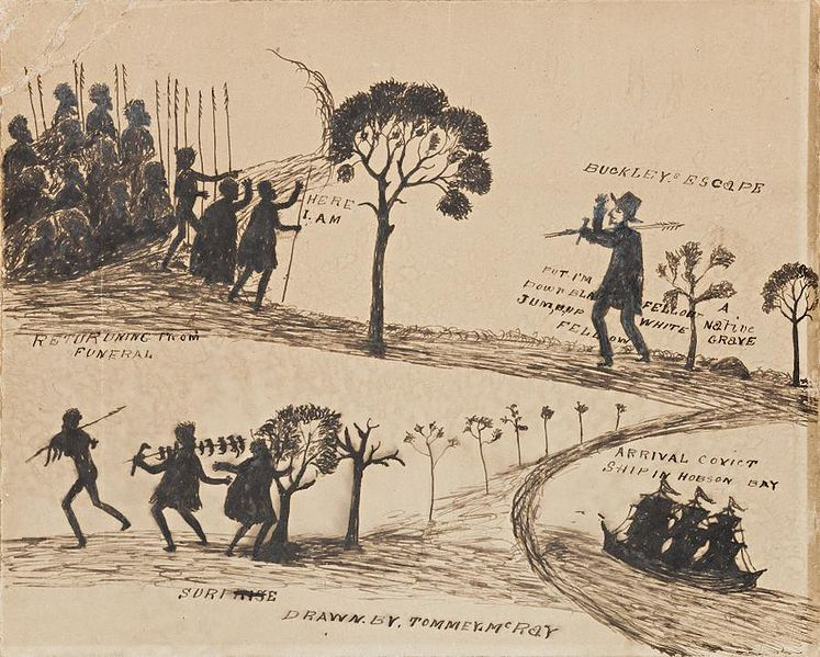 fuga di william buckley tra i nativi australiani, disegno