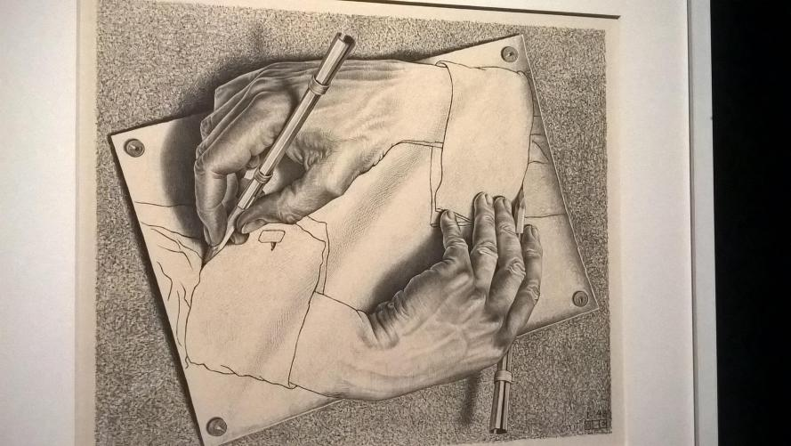 Escher, disegni delle mani