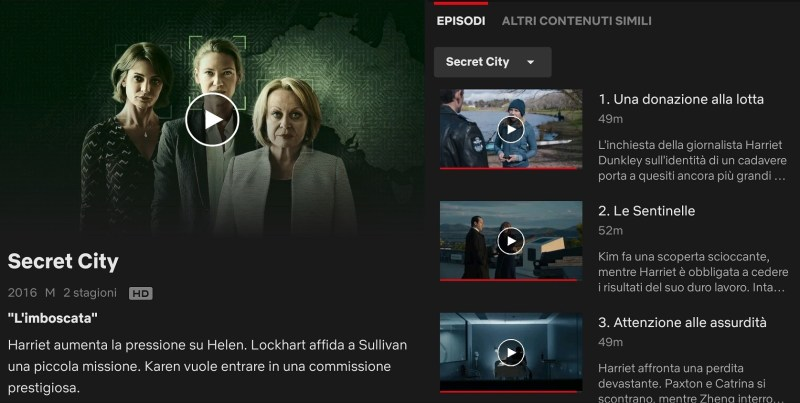 Serie tv Australiane da vedere su Netflix: Secret City, episodi