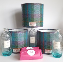 20cm drum Harris Tweed lampshades destined to become bottle lamps