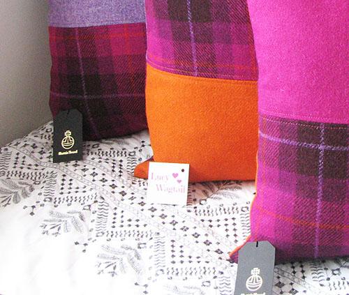 Trio of Bespoke Cushions in Harris Tweed
