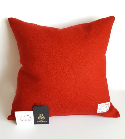 Red Harris Tweed Cushion 45cm