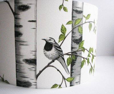 40cm D Scandi Bird and Birch Trees Lampshade