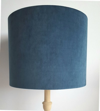 French Navy Velvet Drum Lampshade