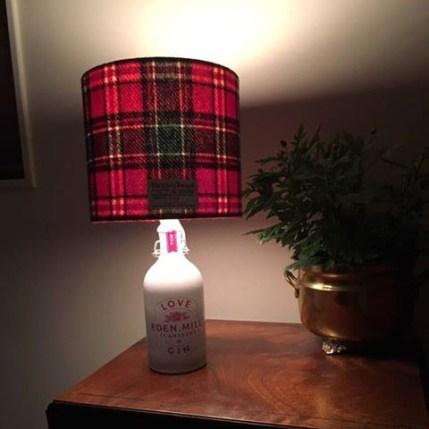 Tartan Harris Tweed Lampshade on Eden Mill Love Gin Bottle in New Zealand!