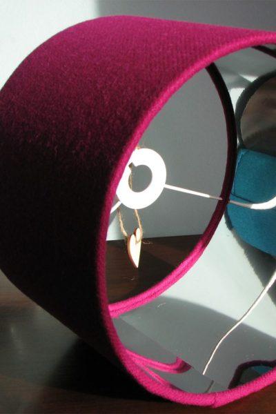 Cerise Harris Tweed Lampshade