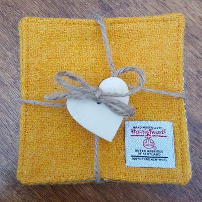 Yellow Harris Tweed Coasters Tied