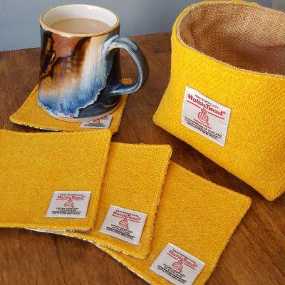Yellow Harris Tweed Coasters and Basket