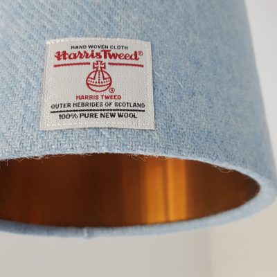 Blue Harris Tweed 20cm Lampshade with copper lining