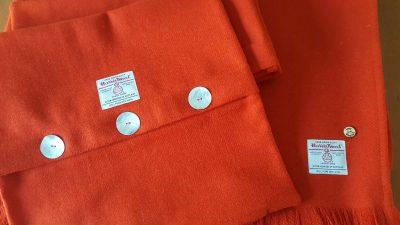 Dark Burnt Orange Harris Tweed Throw and Cushion
