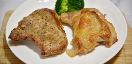 大成食品黃金脆皮雞腿排、台灣豬極厚排骨烤著吃/日本千石阿拉丁烤箱食譜/排骨蛋炒飯、泰式椒麻雞
